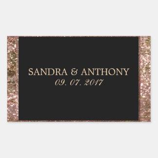 Etiqueta cor-de-rosa elegante do casamento do