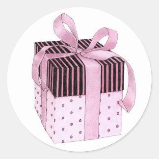 Etiqueta cor-de-rosa & preta do presente adesivo redondo