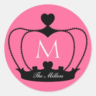 Etiqueta cor-de-rosa & preta elegante da coroa do adesivo