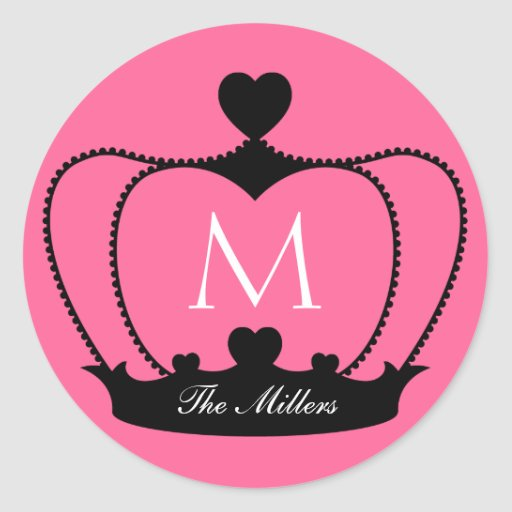 Etiqueta cor-de-rosa & preta elegante da coroa do adesivo em formato redondo