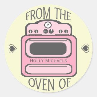 Etiqueta cor-de-rosa retro personalizada do forno adesivo
