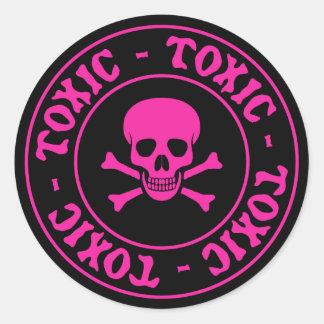 Etiqueta cor-de-rosa tóxica do crânio e dos