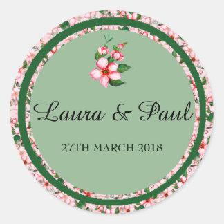 Etiqueta cor-de-rosa & verde da flor do casamento