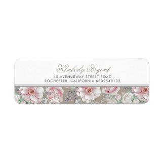 Etiqueta Cora o vintage floral do rosa e o branco