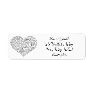 Etiqueta Coração australiano do calão