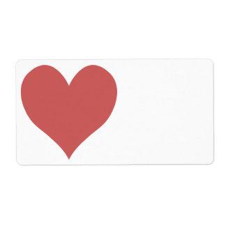 Etiqueta Coração bonito do vermelho indiano