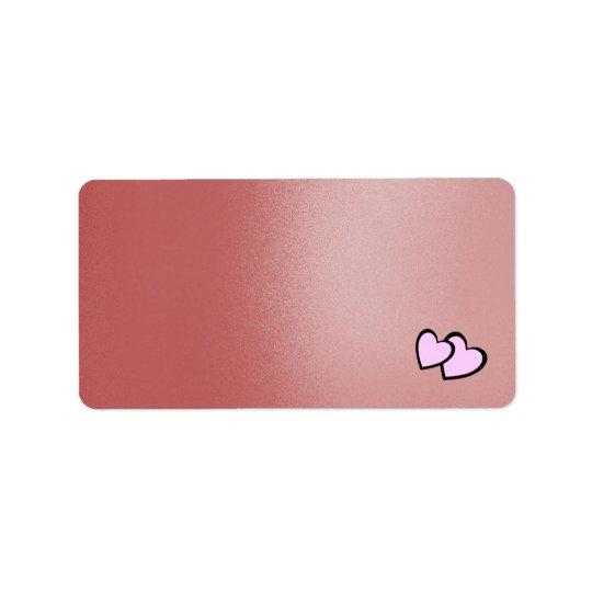 Etiqueta Coração cor-de-rosa de seda do falso dobro