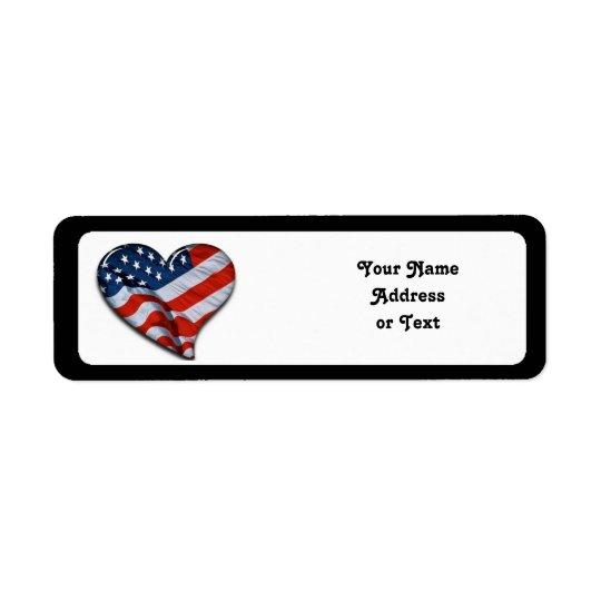 Etiqueta Coração da bandeira americana
