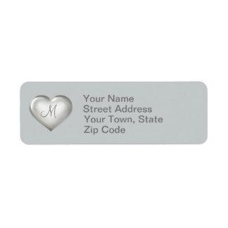 Etiqueta Coração de vidro de prata do monograma