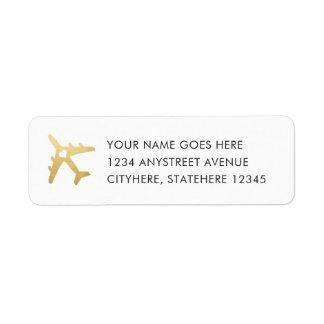 Etiqueta Coração do avião do ouro para o casamento do