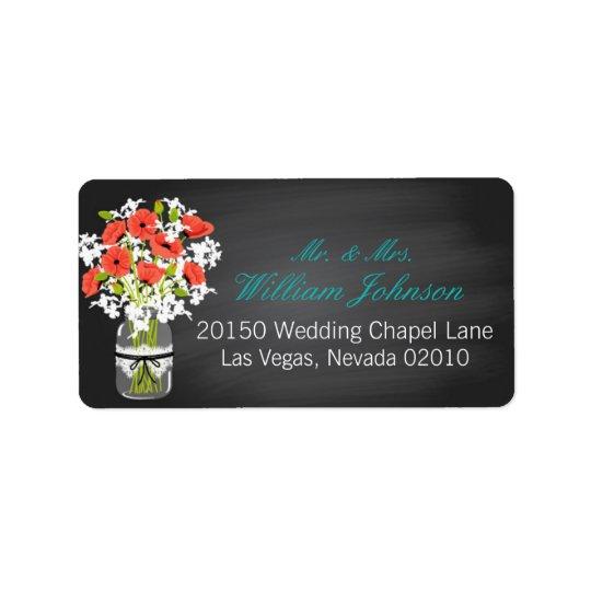 Etiqueta coral do casamento do quadro do frasco etiqueta de endereço