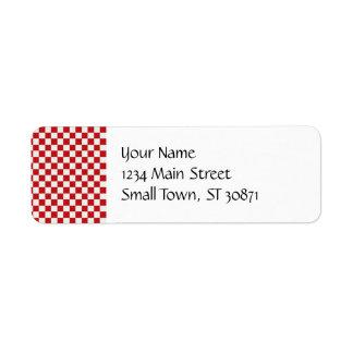 Etiqueta Cores Checkered vermelhas e brancas do CHURRASCO