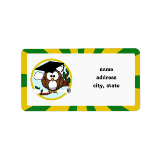 Etiqueta Coruja de graduação com cores da escola do verde &
