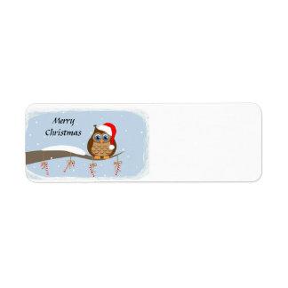 Etiqueta Coruja do Feliz Natal