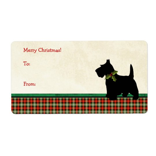 Etiqueta Costume tradicional do Natal da xadrez do cão do