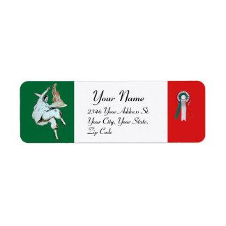 Etiqueta COZINHA ITALIANA do PARTIDO dos ESPAGUETES, verde