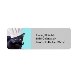 Etiqueta Cozinheiro chefe italiano, gato preto