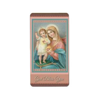 Etiqueta Criança católica Jesus da Virgem Maria