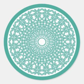 Etiqueta Crocheted azul do laço do Aqua Adesivo