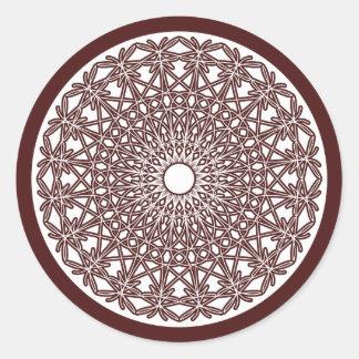 Etiqueta Crocheted Brown do laço do café Adesivos Redondos