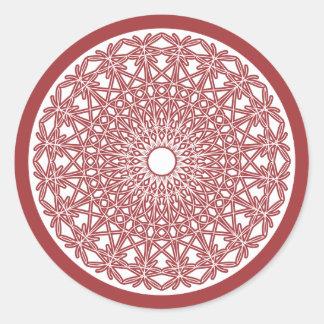 Etiqueta Crocheted do laço do vermelho de tijolo Adesivos Redondos