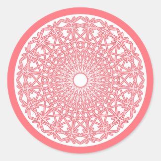 Etiqueta Crocheted rosa do laço da pastilha Adesivos Redondos