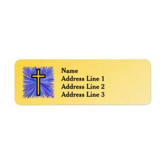 Etiqueta Cruz brilhante no fundo amarelo do inclinação