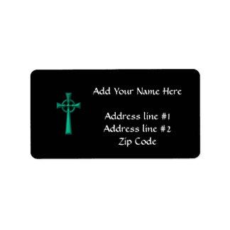 Etiqueta Cruz celta metálica verde