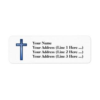 Etiqueta Cruz cristã com azul/inclinação Branco-Colorido