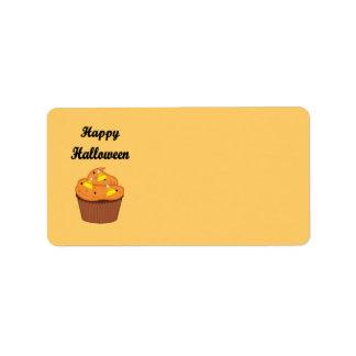 Etiqueta Cupcake feliz do Dia das Bruxas