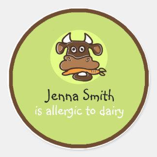 Etiqueta customizável da alergia da leiteria
