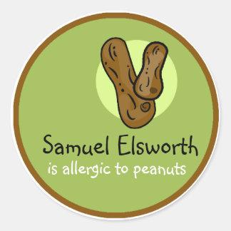 Etiqueta customizável da alergia do amendoim