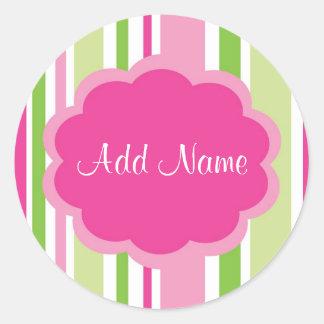 Etiqueta customizável da listra da menina legal adesivo redondo