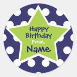 Etiqueta customizável do aniversário da estrela adesivo em formato redondo