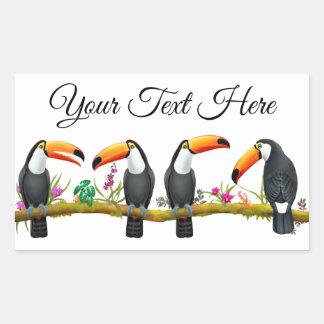 Etiqueta customizável dos pássaros tropicais de