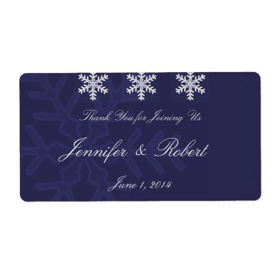 Etiqueta da água do casamento no inverno do floco etiqueta de frete