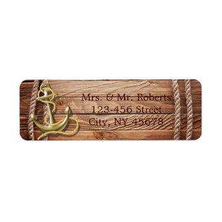 Etiqueta da âncora de madeira da praia da doca do navio