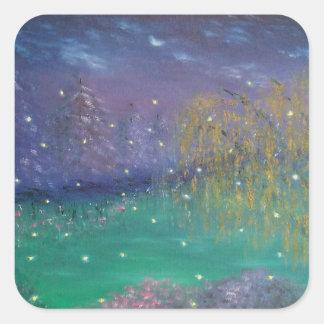 Etiqueta da arte da paisagem do vaga-lume