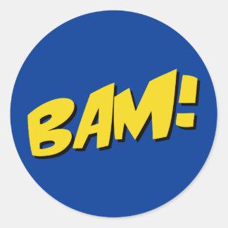 Etiqueta da banda desenhada no azul adesivo em formato redondo