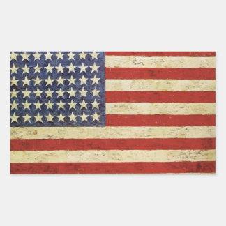 Etiqueta da bandeira americana do vintage adesivo retangular