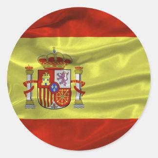 Etiqueta da bandeira da espanha adesivo em formato redondo