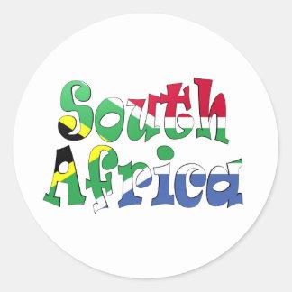 Etiqueta da bandeira de África do Sul Adesivo Redondo