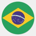 Etiqueta da bandeira de Brasil Adesivo Em Formato Redondo