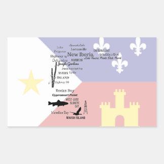 Etiqueta da bandeira de Cajun das cidades e dos