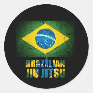 Etiqueta da bandeira de Jiu Jitsu do brasileiro Adesivos Em Formato Redondos