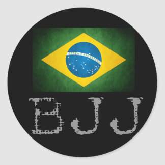 Etiqueta da bandeira de Jiu Jitsu do brasileiro de Adesivos Em Formato Redondos