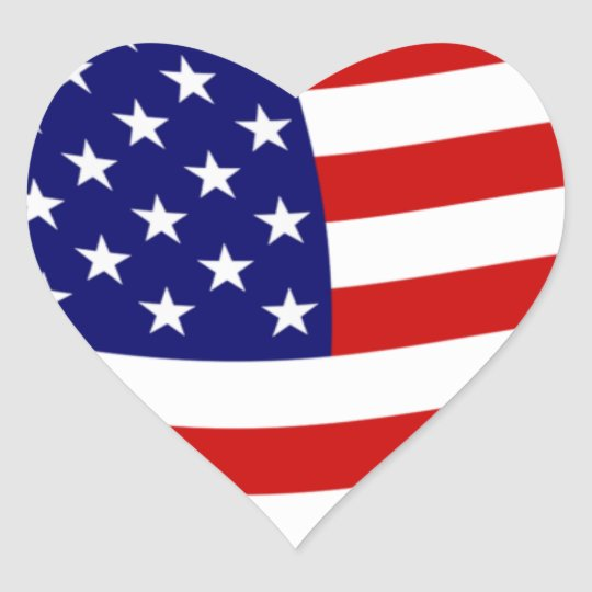 Aparador Tagalog ~ Etiqueta da bandeira dos Estados Unidos da América Adesivo Coraç u00e3o Zazzle