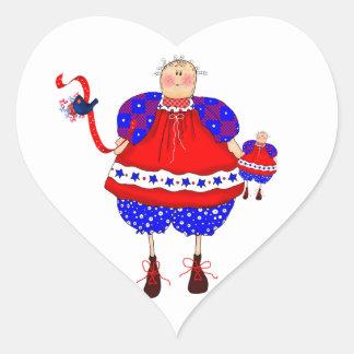 Etiqueta da boneca de pano adesivos de corações