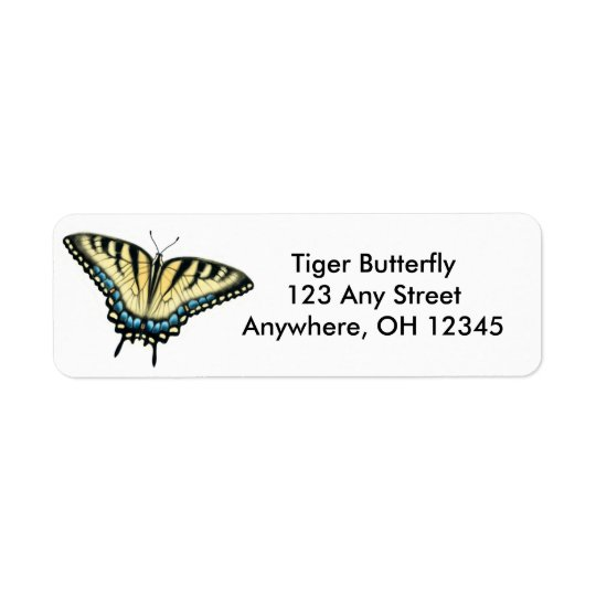 Etiqueta da borboleta de Swallowtail do tigre