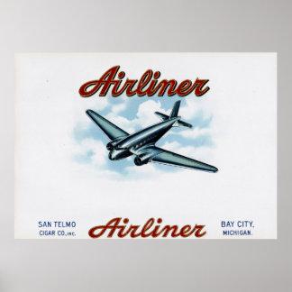 Etiqueta da caixa de charuto do vintage do avião posteres